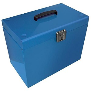 Image of Metal File Box with 5 A4 Suspension Files, Tabs & Inserts - Blue