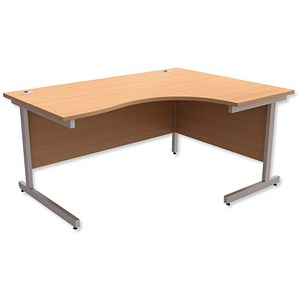 Image of Trexus Contract Radial Desk / Right Hand / 1600mm Wide / Beech