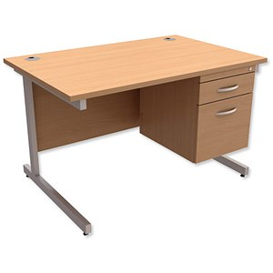 Image of Trexus Contract Rectangular Desk with 2-Drawer Pedestal / 1200mm Wide / Beech