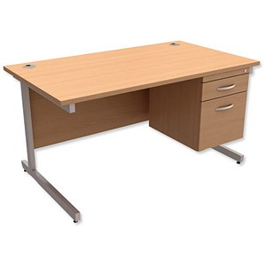 Image of Trexus Contract Rectangular Desk with 2-Drawer Pedestal / 1400mm Wide / Beech