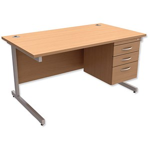 Image of Trexus Contract Rectangular Desk with 3-Drawer Pedestal / 1400mm Wide / Beech