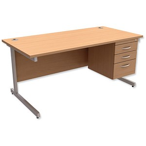 Image of Trexus Contract Rectangular Desk with 3-Drawer Pedestal / 1600mm Wide / Beech