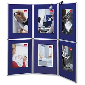 Image of 6 Nobo Pro-Panel Display with Bag - Blue Panels & White Frame