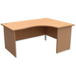 Image of Trexus Classic Panelled Radial Desk / Right Hand / 1600mm Wide / Beech