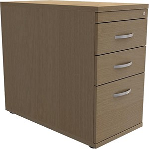 Image of Trexus Desk-High Filing Pedestal / 800mm Deep / 3-Drawer / Oak