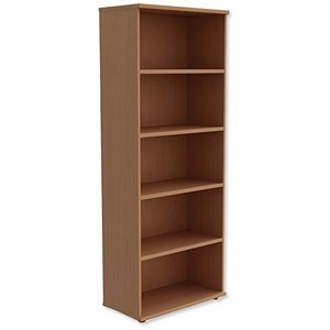 Image of Trexus Tall Bookcase with Adjustable Shelves - Beech