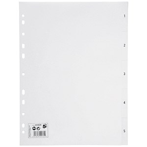 Image of 5 Star Plastic Index Dividers / 1-5 / A4 / White