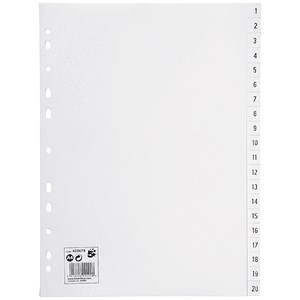 Image of 5 Star Index / Multipunched Polypropylene / 1-20 / A4 / White