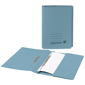 Image of 5 Star Foolscap Transfer Spring Files with Pocket - Blue - Pack of 25
