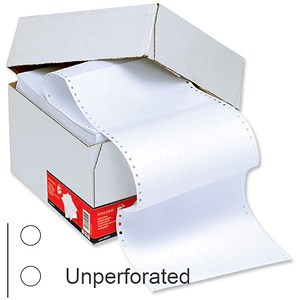 Image of Computer Listing Paper / 1 Part / 11 inch x 389mm / Unperforated / Plain White / Box (2000 Sheets)