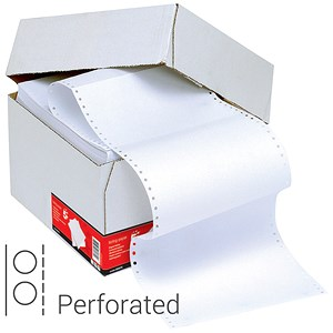 Image of Computer Listing Paper / 1 Part / 11 inch x 241mm / Perforated / Plain White / 70gsm / Box (2000 Sheets)