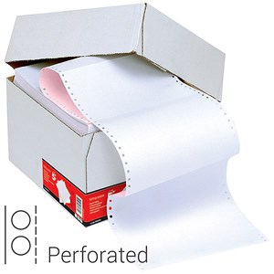 Image of Computer Listing Paper / 2 Part / 11 inch x 241mm / Perforated / White & Pink Sheets / Box (1000 Sheets)