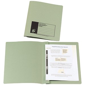 Image of 5 Star Flat File Recycled Manilla 285gsm 38mm Foolscap Green [Pack 50]