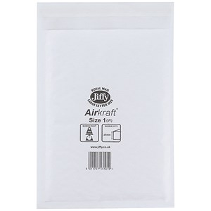 Image of Jiffy Airkraft No.1 Bubble-lined Postal Bags / 170x245mm / Peel & Seal / White / Pack of 10