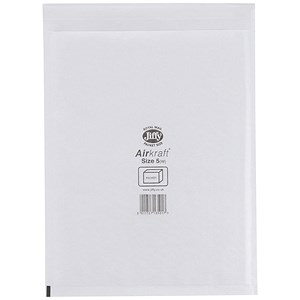 Image of Jiffy Airkraft No.5 Bubble-lined Postal Bags / 260x345mm / Peel & Seal / White / Pack of 10