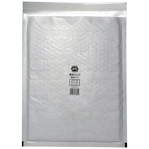 Image of Jiffy Airkraft No.7 Bubble-lined Postal Bags / 340x445mm / Peel & Seal / White / Pack of 10