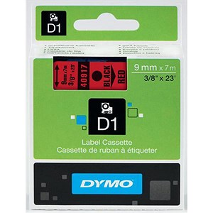 Image of Dymo D1 Tape for Electronic Labelmakers 9mmx7m Black on Red Ref 40917 S0720720