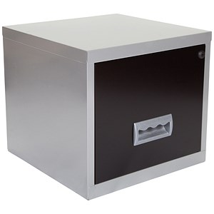 Image of Pierre Henry Steel Cube Filing Cabinet / 1 Drawer / A4 / Silver & Black