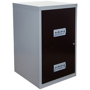 Image of Pierre Henry 2-Drawer Filing Cabinet / A4 / Silver & Black