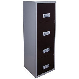 Image of Pierre Henry 4-Drawer Filing Cabinet / A4 / Silver & Black