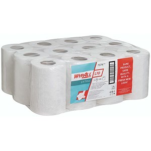 Image of Wypall L10 Centrefeed Wiper Refills / 1-Ply / White / 12 Rolls of 200 Sheets