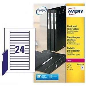 Image of Avery Laser Filing Labels for Eurofolio / 24 per Sheet / 134x11mm / L7170-25 / 600 Labels