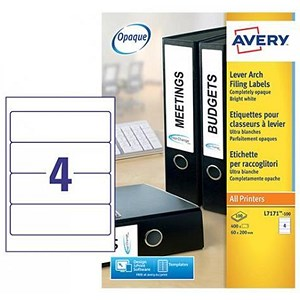 Image of Avery Laser Filing Labels for Lever Arch file / 4 per Sheet / 200x60mm / L7171-100 / 400 Labels