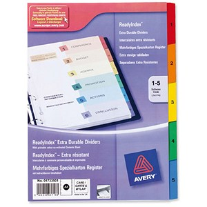 Image of Avery ReadyIndex Dividers / 1-5 / Multicoloured Mylar Tabs / A4 / White