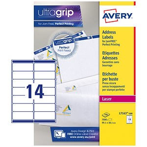 Image of Avery Jam-free Laser Addressing Labels / 14 per Sheet / 99.1x38.1mm / White / L7163-500 / 7000 Labels
