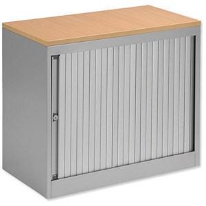 Image of Bisley Desk-high Side-opening Eurotambour / Silver Frame / Silver Shutters / Beech Top
