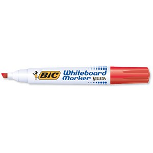 Image of Bic Velleda 1751 Whiteboard Marker / Chisel Tip / Red / Pack of 12