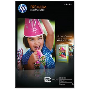 Image of Hewlett Packard (HP) Premium Photo Paper Glossy 240gsm 100x150mm Ref Q8032A (100 Sheets)