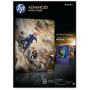 Image of HP A4 Advanced Photo Paper Glossy / White / 250gsm / Pack of 50