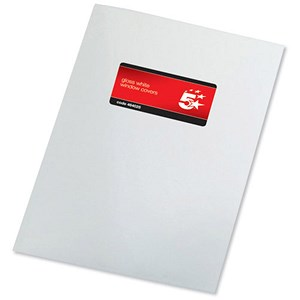 Image of 5 Star Binding Covers with Window / 250gsm / Gloss White / A4 / Pack of 50 Pairs