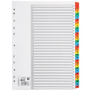 Image of 5 Star Index Dividers / 1-31 / Multicoloured Mylar Tabs / A4 / White