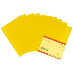Image of 5 Star Cut Flush Folders / Translucent Polypropylene / Copy-safe / A4 / Yellow / Pack of 25