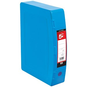 Image of 5 Star Plastic Box File / Twin Clip Lock / 70mm Spine / Foolscap / Blue