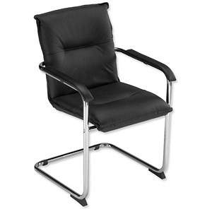Image of Trexus Annapolis Cantilever Visitors Chair Leather Back H420mm Seat W465xD430xH475mm Black