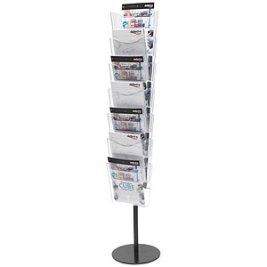 Image of Literature Floor Stand Unit / Portrait / 7 x A4 Pockets / Crystal