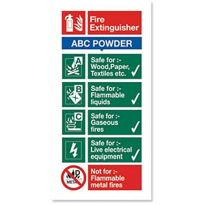 Image of Stewart Superior Sign ABC Dry Powder Fire Extinguisher W100xH200mm Self-adhesive Vinyl Ref FF092SAV