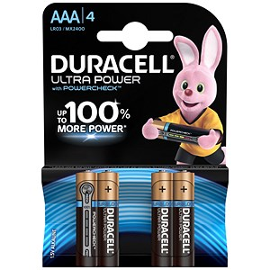 Image of Duracell Ultra Power MX2400 Alkaline Battery / 1.5V / AAA / Pack of 4