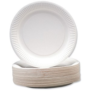 Image of Disposable Paper Plates / 230mm Diameter / Pack of 100