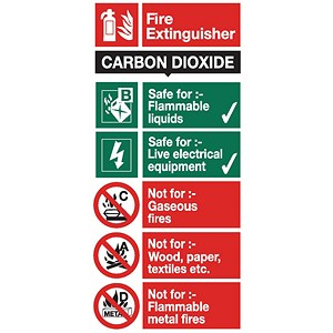 Image of Stewart Superior Safety Sign CO2 Fire Extinguisher W100xH200mm Self-adhesive Vinyl Ref FF093SAV