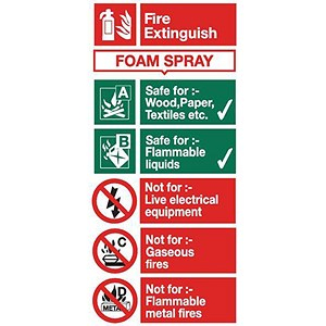 Image of Stewart Superior Sign AFFF Foam Fire Extinguisher W100xH200mm Self-adhesive Vinyl Ref FF094SAV