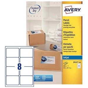 Image of Avery Quick DRY Inkjet Addressing Labels / 8 per Sheet / 99.1x67.7mm / White / J8165 / 800 Labels
