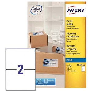 Image of Avery QuickDRY Inkjet Addressing Labels / 2 per Sheet / 199.6x143.5mm / White / J8168-100 / 200 Labels