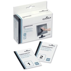 Image of Durable Screenclean Duo Antistatic Wet & Dry Wipes Ref 5721 [Pack 10 sets]