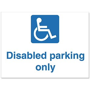 Image of Stewart Superior Outdoor Disabled Parking Only Sign Polypropylene W600xH450mm Ref KS010