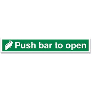 Image of Stewart Superior Safe Condition and Fire Equipment Sign Push Bar to Open W600xH100mm Ref SP056PP