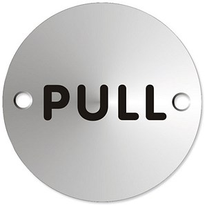 Image of Circular Convex Pull Sign Satin Anodised Aluminium 72mm Diameter